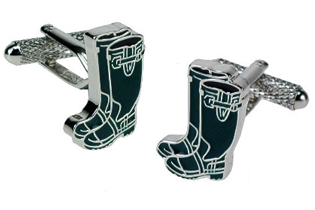 Remember splashing in ALL the puddle with your Dad - these wonderful green 'wellies' cufflinks are a superb reminder!