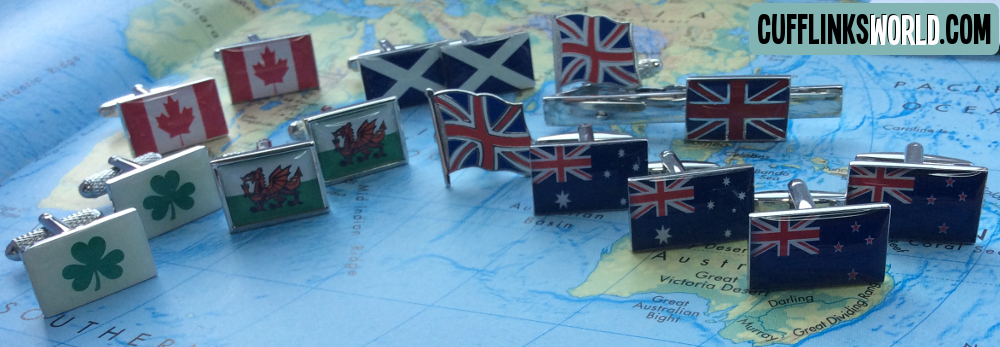A few flags of Commonwealth countries: if you don't see what you want, please contact us, we can probably get your flag cufflinks for you!