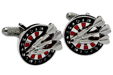 Dart Board and Darts Cufflinks