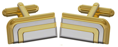 1920's style cufflinks in gold and rhodium