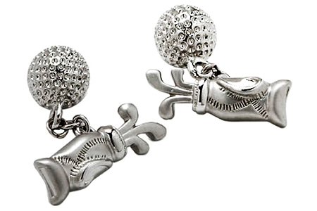 Golf Bag and Ball Chainlink Cufflinks