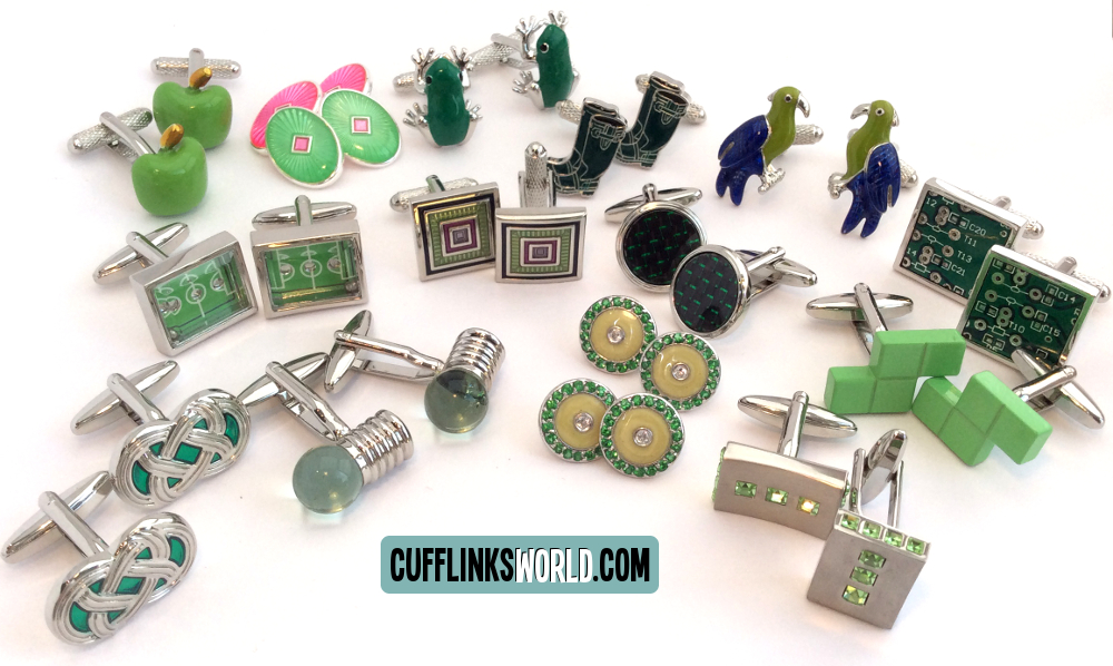 Choose froma great selction of green cufflinks from formal to novelty, funny, special and sparkling.