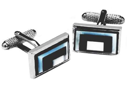 Rectangle Mother of Pearl and Black Onyx Cufflinks
