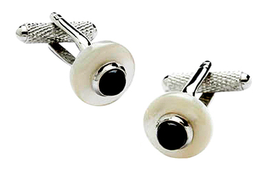 Mother of Pearl Cufflinks with Black Onyx