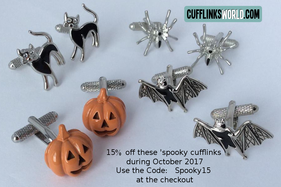 15% off Black Cat, Pumpkin, Spider and Bat Cufflinks during October 2017