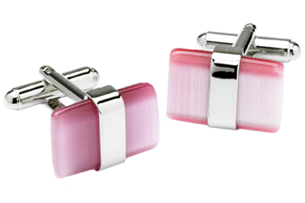 Pink Cats Eye Cufflinks