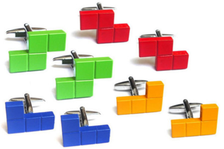 Retro Game Tetrimino Shape Cufflinks