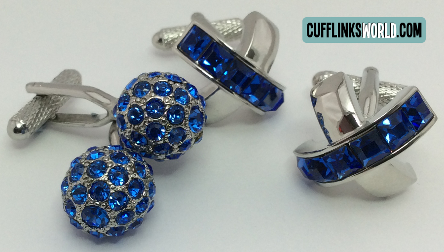 Shiny Sparkling Sapphire Coloured Cufflinks: Perfect for September Birthday and 65th Wedding Anniversary