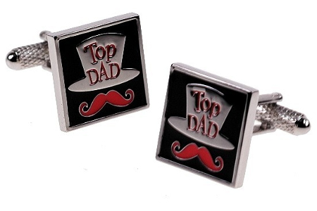 Top Dad : Hat and Moustache Cufflinks