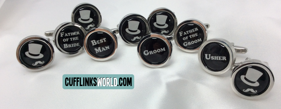 Round Black Wedding Party Cufflinks with names in White Lettering and Top Hat and Moustashe design