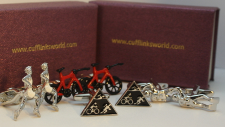 Swimming, Cycling, Running, sports cufflinks for tri-athletes.