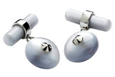 Silver/Grey Cats eye Cufflinks
