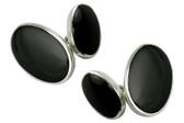 Black Onyx Silver Cufflinks