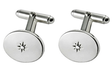 Silver Diamond Cufflinks
