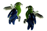 Beautiful Green and Blue Parrot Cufflinks