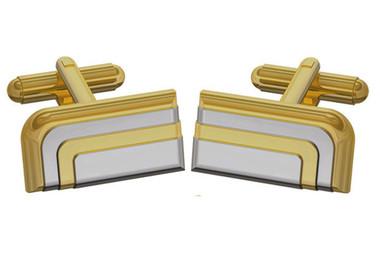 Duncan Walton Luxury Art Deco Style Cufflinks in Golden /Chrome