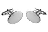 Oval silver cufflinks