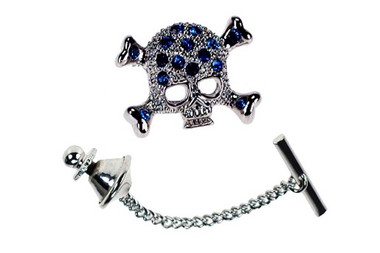 Skull shaped Tie Pin with sapphire crystals