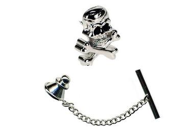 Skull and Cross Bones Tie Pin with black crystal eyes