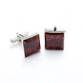 Square flower design formal cufflinks