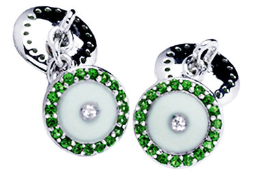 Silver cufflinks with green Zircons