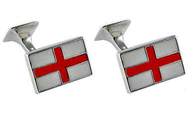 Silver Plated St George Cross Cufflinks