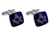 Square Masonic Sterling Silver and Blue Cufflinks