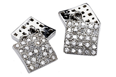 Silver Cufflinks With White Cubic Zirconia