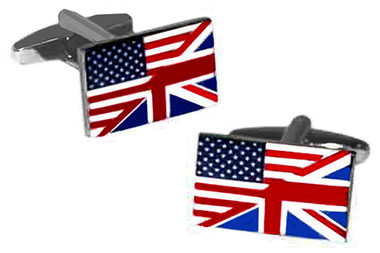 Union Jack and Stars and Stripes combined Flags design Cufflinks