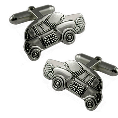 Silver Plated Mini Car Cufflinks
