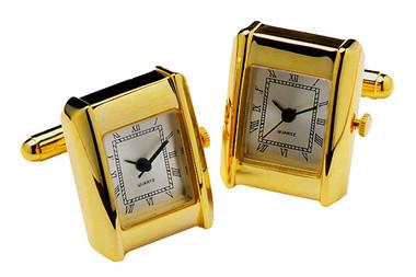 Rectangular Watch with Roman Numerals Cufflinks