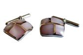 Sterling Silver Pink Chain-link Cufflinks