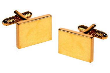 Rectangular Gilt cufflinks: suitable for engraving (additional charge)