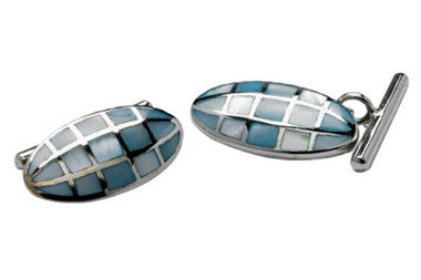 Blue Mother of Pearl set in Sterling Silver chain cufflinks