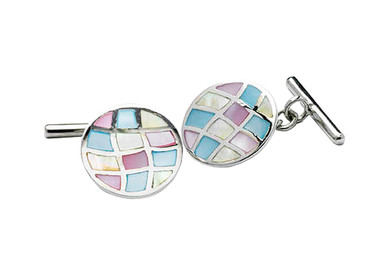 Round Silver Mother of Pearl cufflinks