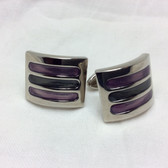 Purple Retangular, curved Cat's Eye cufflinks