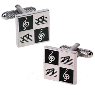 Black and White Square Treble Clef and Musical Notes Cufflinks