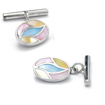 Sterling Silver Multi-Coloured Mother of Pearl Chain Link Cufflinks