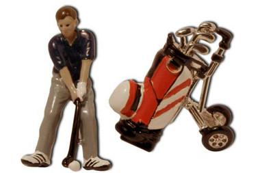 Golfer with Golf bag Cufflinks