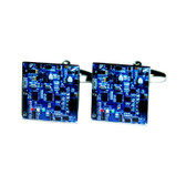 Circuit Board Design Cufflinks in Blue