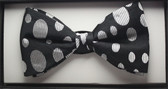 Black with Silver Oval Spots design pure silk bow tie