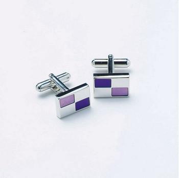 Rectangular chrome cufflinks with two tones of purple rectangules design cufflinks
