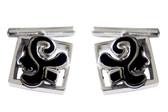 Black silver cufflinks