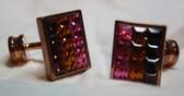 Pink, Amber, Brown Crystal cufflinks
