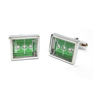 Football pitch cufflinks with moving ball
