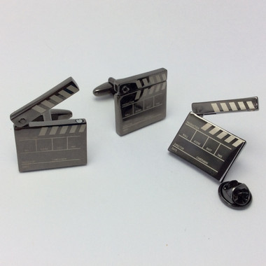 'It's a wrap'! Movie Clapperboard Design Cufflinks team up with matching lapel pin badge (LP693) to create a sure fire winner!