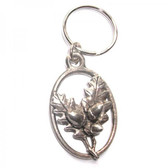 Pewter Oak leaves key ring