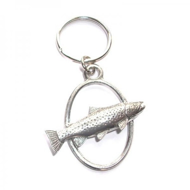Brown Trout Fish pewter keyring