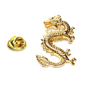Golden Lucky Dragon Lapel Pin Badge