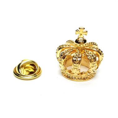 Golden 3D Crown Lapel Pin Badge